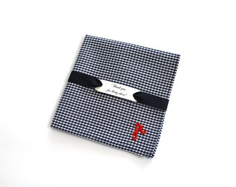 Custom Embroidered handkerchief Personalized groomsmen gift Gingham pocket square Monogram gift Initial Handkerchief Navy Mens handkerchief