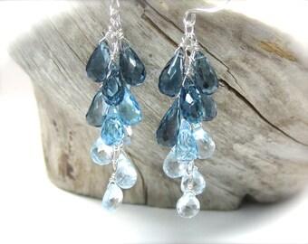 Blue topaz earrings in sterling silver. Swiss London blue topaz long dangle earrings. Blue gemstone cascade briolette earrings MADE TO ORDER