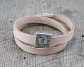 Natural Double Wrap Leather Bracelet with Water Talisman Slide