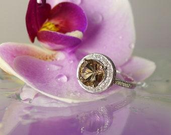 Custom Made Engagement Ring, Halo Ring, White Gold Halo Ring, Black Gemstone Ring, Unique Gold Ring, White Gold Ring, Halo Engagement Ring