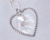 Crystal Swarovski Heart Necklace - April Birthstone - Silver Heart Charm - Gifts Under 15