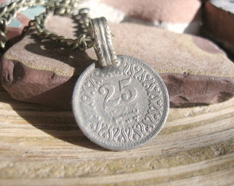 Coin Necklace - Bohemian Necklace with Brass Chain, Vintage Coin Pendant, Gypsy Moon and Star
