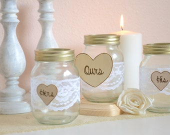 Wedding sand ceremony jars- his, hers, ours sand unity ceremony set