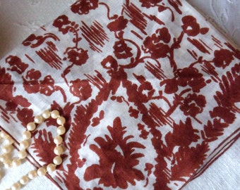 Hand Painted Silk Hanky, Brown on White Abstract Floral Handkerchief, Ladies Silk Hanky