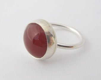 Carnelian Ring/ Sterling Silver Ring with Red Gemstone/ Handmade/ size 6.25