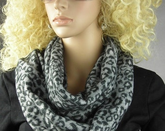 Leopard Infinity Scarf - loop scarf - circle Scarf - Long Scarf - Leopard Print - Neckwarmer - cashmere feel -black gray