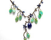 Green and Blue Leaf Beaded Necklace, Lapis Necklace, Green and Blue Statement Necklace, Green and Blue Vine Necklace, Nature Jewelry