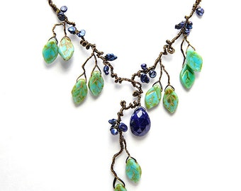 Green and Blue Statement Necklace, Lapis Bib Necklace, Green and Blue Leaf Necklace, Blue Organic Necklace, Nature Jewelry, N243b