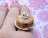 Kawaii Stacked Pancakes Ring-With Syrup and Whip Cream