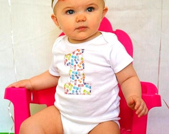 SALE Baby girl first birthday outfit, one piece bodysuit and headband set, shabby, colorful, photo prop, birthday fashion