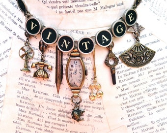 VINTAGE Typewriter Key Necklace Custom Order Antique Charms Mother Grandmother Gift