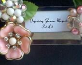 3 Pink and Pearl Sparkling Vintage Gemmed Magnet Blossoms