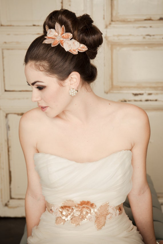 Rose Gold Bridal Hair Comb, Wedding Headpiece, Champagne Chiffon Floral & Sequin Beaded Applique Blush Pink Trim, Camilla Christine JENNY