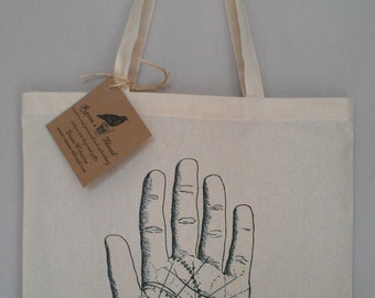 Astrology Palm Reading Tote Bag Hand illustration cotton canvas tote bag