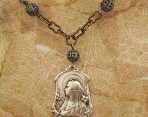 VIRGIN MARY MEDAL Necklace Pendant.Blessed Mother Mary..Vintage French Holy Medal Recast..Catholic Religious Jewelry.Silver Tone.Art Nouveau