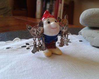 3 Little Kittens nursery rhyme sterling silver stud dangle earrings 90s cat lover jewelry vintage 80s Back to School teacher birthday gift