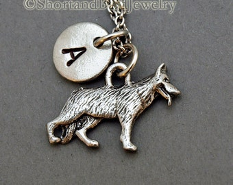 German Shepherd necklace, Alsatian, dog charm, German Shepherd charm, initial necklace, personalized, antique silver, monogram