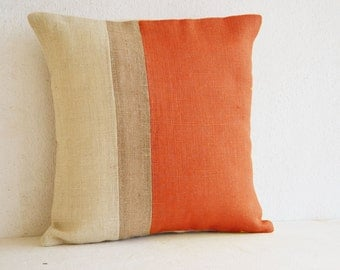 Orange Pillow, Burlap Pillow color block, Orange Decorative cushion cover, Spring Throw pillow gift 18X18, Orange Euro Sham