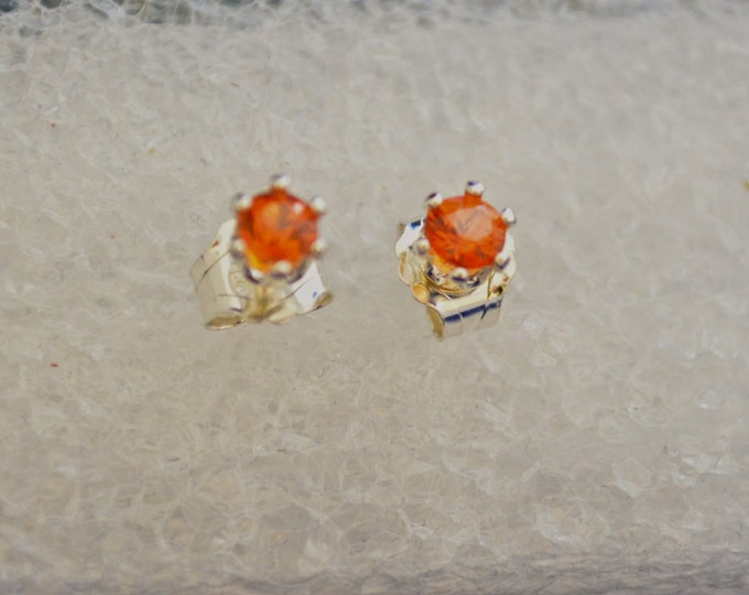 Red Orange Sapphire Earrings, Dainty 3mm Round, Natural, set in Sterling E340