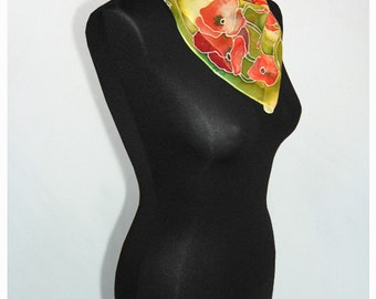 Silk Scarf POPPY square Silk Scarves hand painted - green red poppies flowers - ready to go