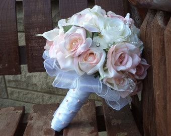 17 pc. Blush Pink and White Silk Bridal Bouquet / Silk Wedding Flowers / Bling Bridal Flowers / Budget Bridal Flowers / Pink Wedding