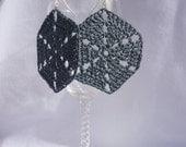 Hexagon Crochet Earrings -- Handcrafted -- Denim Blue