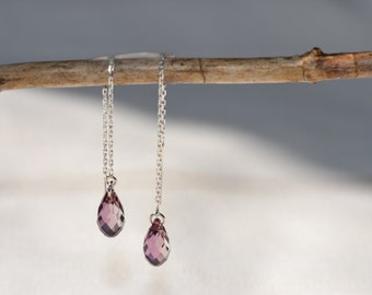 Antique Pink Swarovski Crystal 3 Inch Sterling Silver Threader Earrings - Handmade Jewelry - Bridesmaid Earrings - Minimalist Jewelry