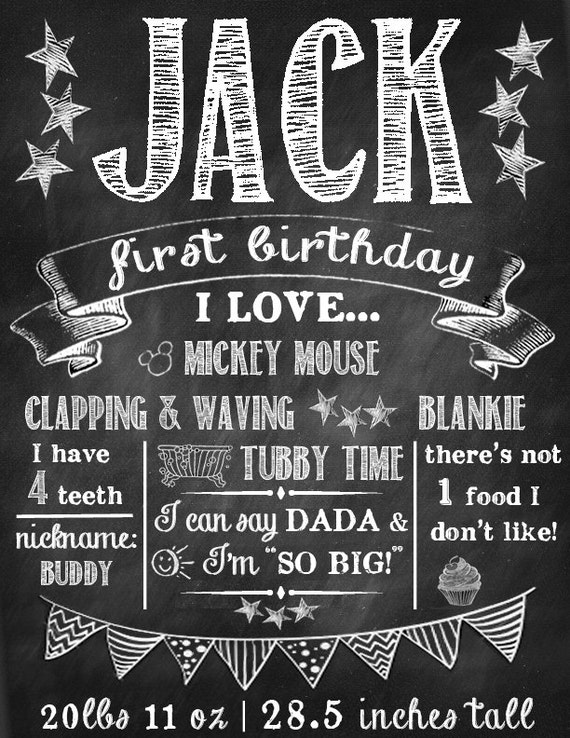This is a photo of Geeky First Birthday Chalkboard Printable