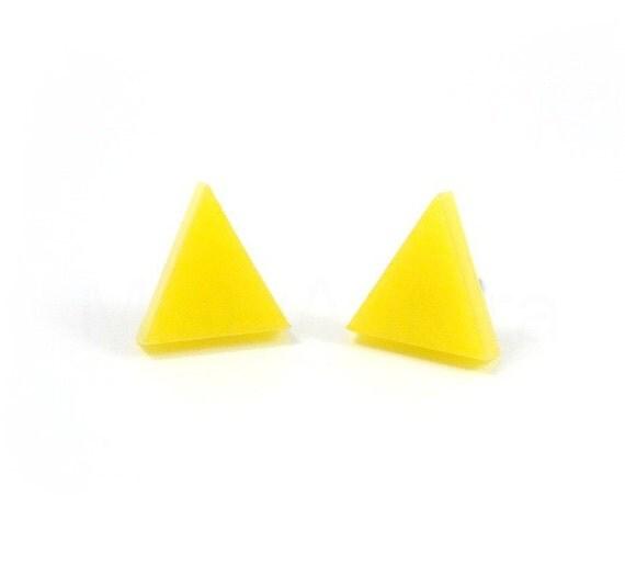 Yellow Stud Earrings,Neon Triangle Earrings,Geometric Post Earrings,Neon Jewelry,Cute Earrings (E180)