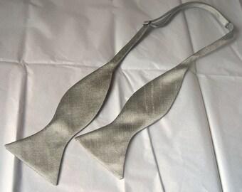 Agnes silver grey dupioni silk freestyle self tie bow tie
