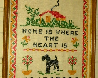 Cross stitch vintage 1970's Folk Art Cross Stitch Home is where the heart is, Terrier Schnauzer Dog, Country Folk Art Sampler