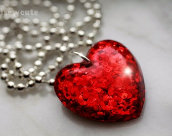 Red Heart Jewelry, Glitter Heart Pendant Necklace, Ruby Glitter, Small Kids Heart Charm Necklace, Valentine Gift for Her by isewcute
