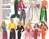 BARBIE KEN Doll Clothes Sewing Pattern - Wedding Gown Mermaid Costume Dolls Wardrobe - OOP
