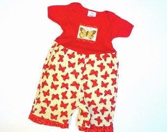 Red & Yellow Butterfly Baby Girl Romper Capri OnePiece sizes 3 6 9 12 month Cotton Boutique Baby Clothes Baby Girl Outfit Romper with Snaps