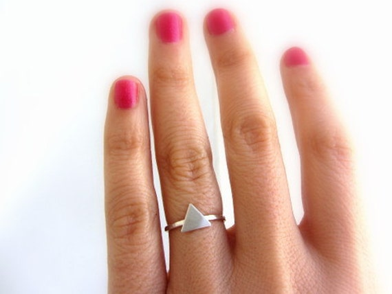 Sterling silver triangle ring, geometric jewelry.