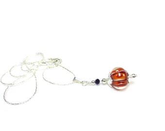 Orange Lampwork Bead Necklace - Purple Crystal - Orange Stripes - 18-Inch Silver Chain - Tiger Striped Pendant Necklace