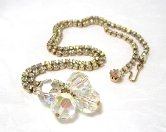 1960's AB Rhinestone Crystal Pendant Necklace, crystal beads, aurora borealis, Excellent