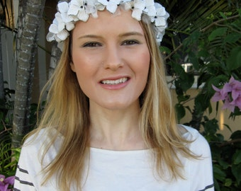 White and Black Silk and Velvet Flower Wreath Headband, for Bridal, weddings, parties, special occasions
