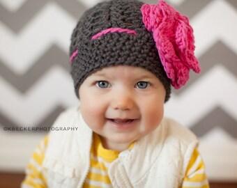 baby hat, crochet baby hat, kids hat, crochet kids hat, newborn girl hat, gray hat