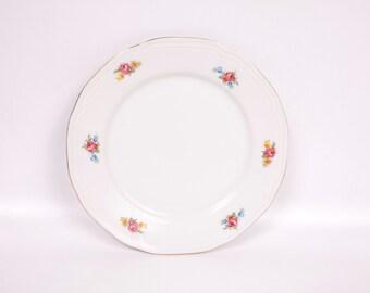 Vintage Israel Porcelain Plate Floral Design Transferware Menorah Candle Stick Logo Embossed Edge Design