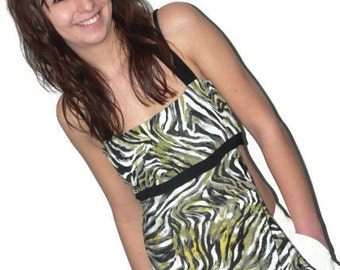 Summer zebra top for woman, with side oppening