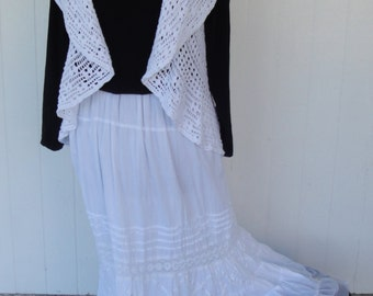 Cotton crochet vest white sleeveless shawl wrap