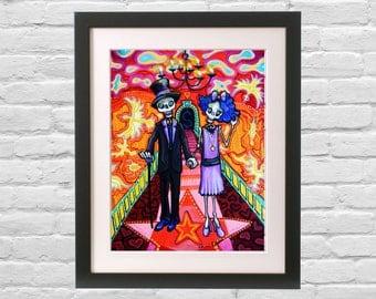 Retro Day of the Dead Skeleton Art Valentine Wedding Couple Gift. Rocker Modern Art Print from tattoo inspired painting. Bones Nelson