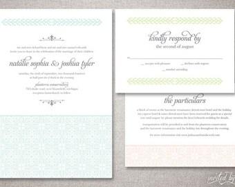 "Vintage ""Natalie"" Custom Wedding Invitations Suite in Pastels - Art Deco Classic Ornate Invite - DIY Digital Printable or Printed Invitation"