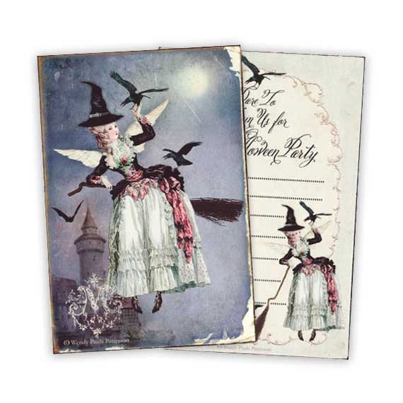 Halloween, invitations, Marie Antoinette, Witch, Spooky, party invitations, haunted castle, witch, broomstick, full moon, crows