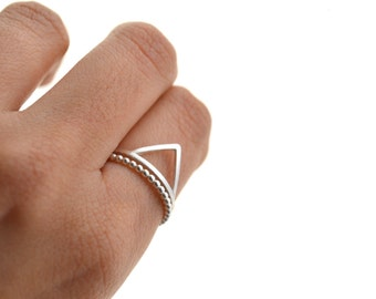 My Mountain my trail silver- sterling silver stacking rings, geometric triangle ring