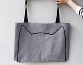 Over-sized Cat Tote Bag, gift for cat lover gift for women crazy cat lady gift for her funny tote bag, cat lady tote bag, cat drawing