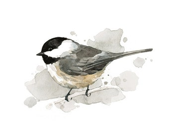 Chickadee watercolor painting - 5x7 bird print