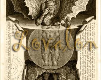 Renaissance Satan... Vintage Art Book Illustration...Digital Download Scrapbooking Image by Lovalon