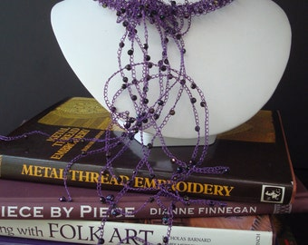 Crocheted Knit Wire Necklace with Beaded Chain Embellishments Purple Metallic Czechoslovakian Glass Beads